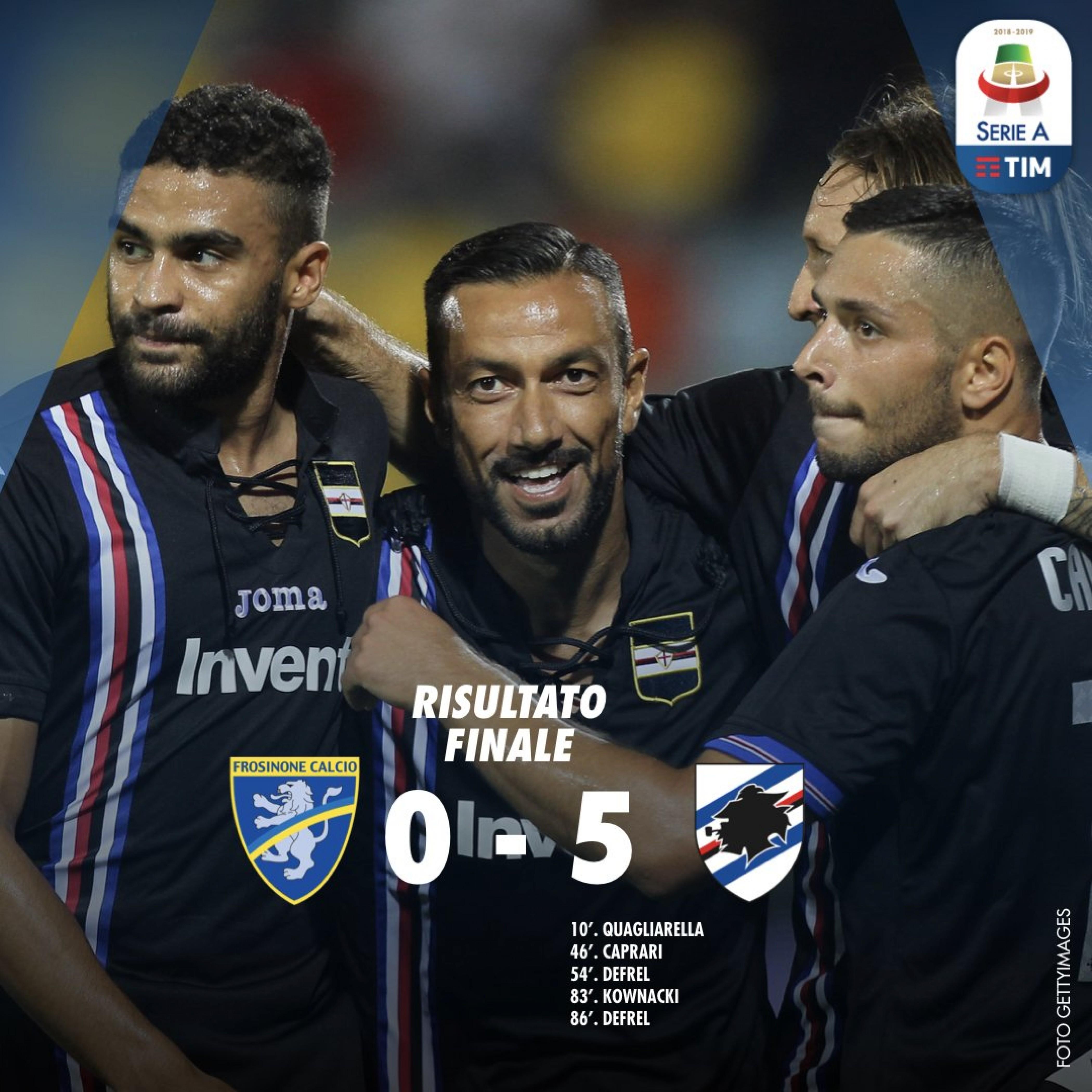 Serie A- Pokerissimo Sampdoria al Frosinone (5-0)