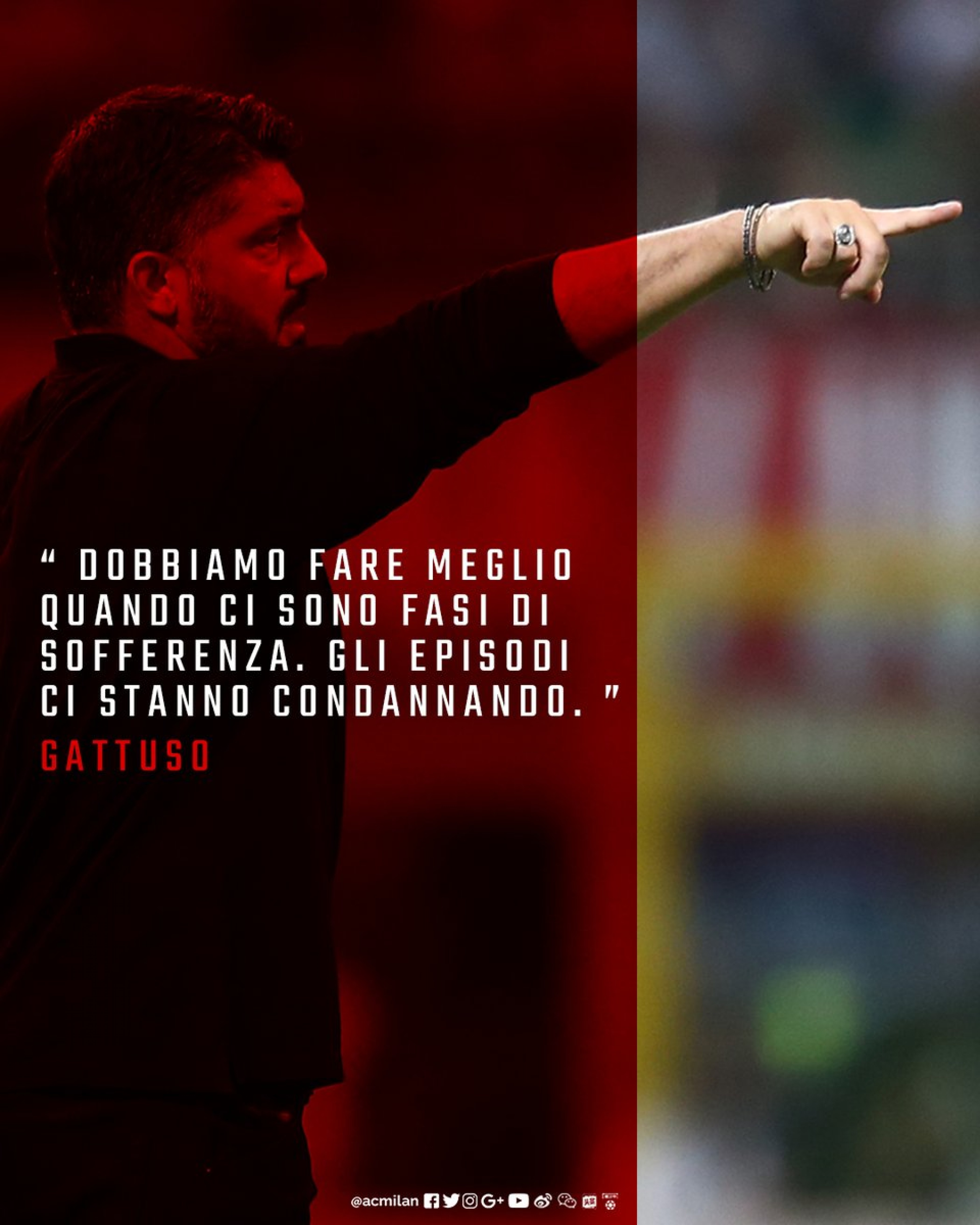 """Milan, pareggio beffa. Gattuso: """"C'è rammarico, siamo una squadra dalle due facce"""""""