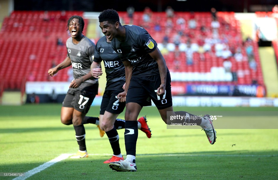 Tyreece John-Jules celebrates his only goal on loan at Doncaster Rovers so far this season, in a win at Charlton Athletic. Photo: James Chance/Getty Images.