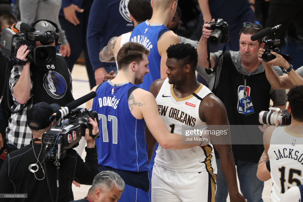 <div>DALLAS, TX - MARCH 4: Luka Doncic #77 of the Dallas Mavericks hugs Zion Williamson #1 of the New Orleans Pelicans after the game on March 4, 2020 at the American Airlines Center in Dallas, Texas. NOTE TO USER: User expressly acknowledges and agrees that, by downloading and or using this photograph, User is consenting to the terms and conditions of the Getty Images License Agreement. Mandatory Copyright Notice: Copyright 2020 NBAE (Photo by Joe Murphy/NBAE via Getty Images)</div><div><br></div>