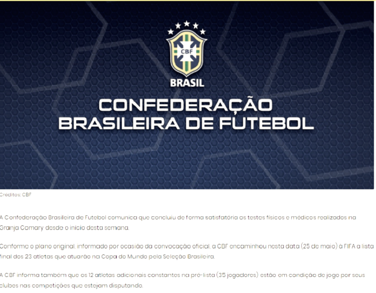 CBF informa que jogadores presentes na lista de suplentes de Tite poderão jogar pelo Brasileirão