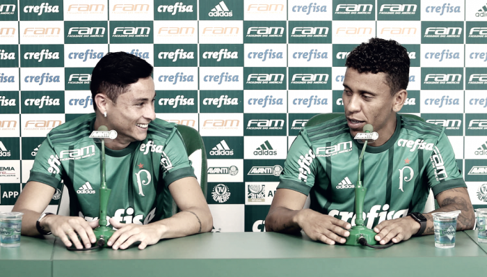 Antigos rivais em Minas, Diogo Barbosa e Marcos Rocha são apresentados no Palmeiras