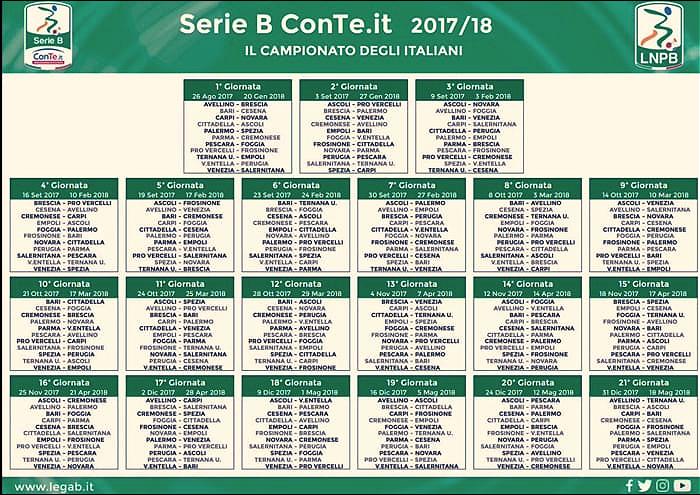 Serie B - Presentato il calendario 2017-2018