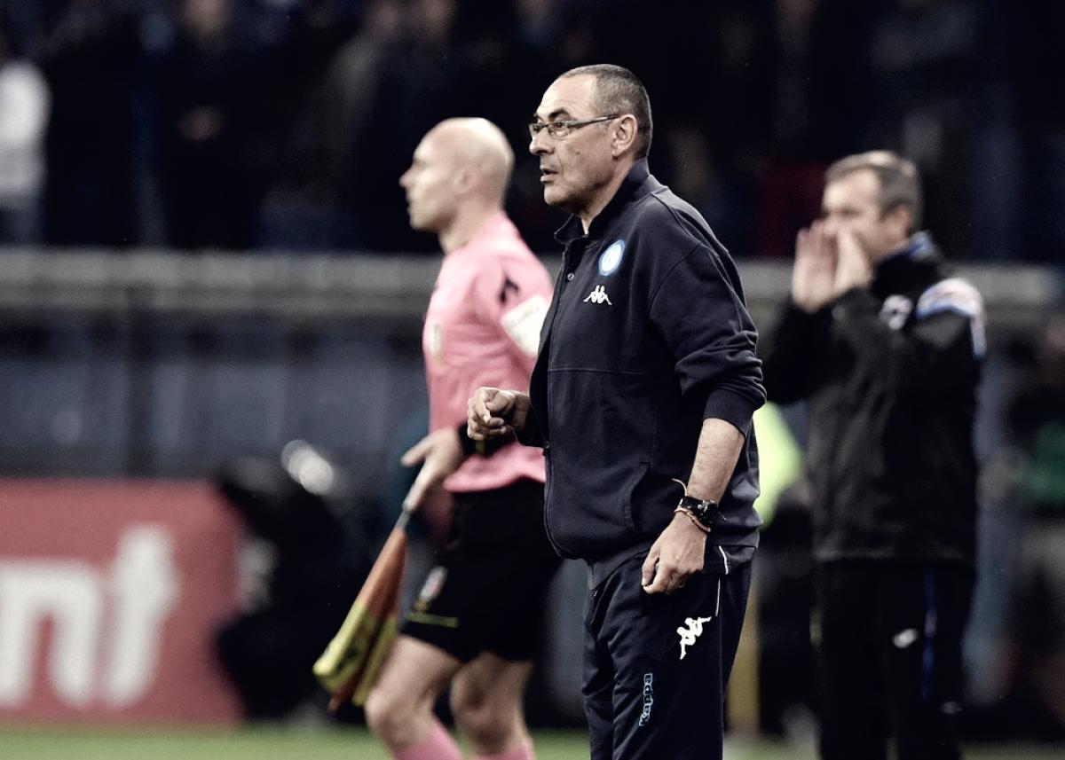 """Sampdoria-Napoli 0-2, Sarri: """"La squadra ha grandi valori morali. Scudetto perso in albergo a Firenze"""""""