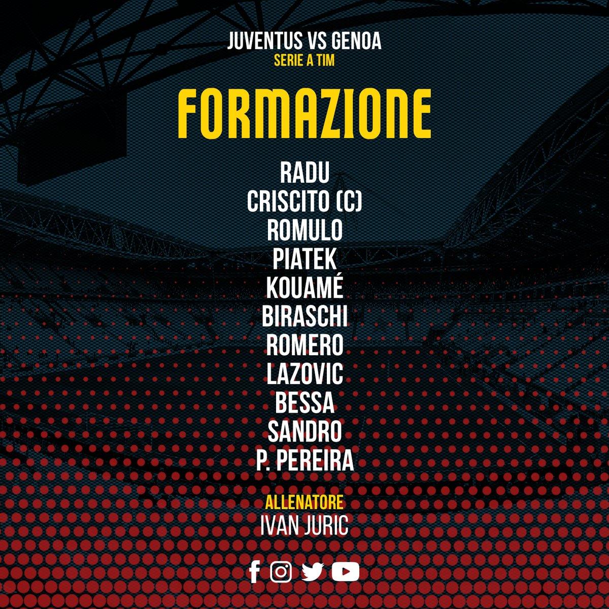 Serie A, le formazioni ufficiali di Juventus - Genoa
