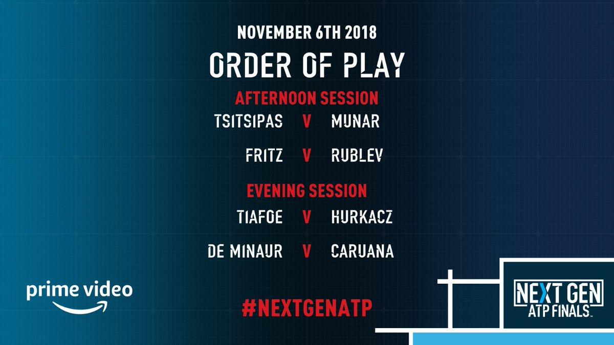 Next Generation ATP Finals: Tiafoe con Tsitsipas. Caruana pesca De Minaur, Rublev e Fritz