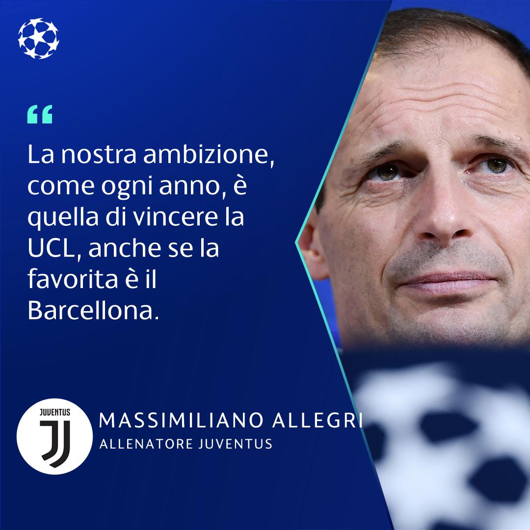 """Champions League- Massimiliano Allegri: """"4-3 e poi vediamo là davanti. Domani bisogna vincere"""""""