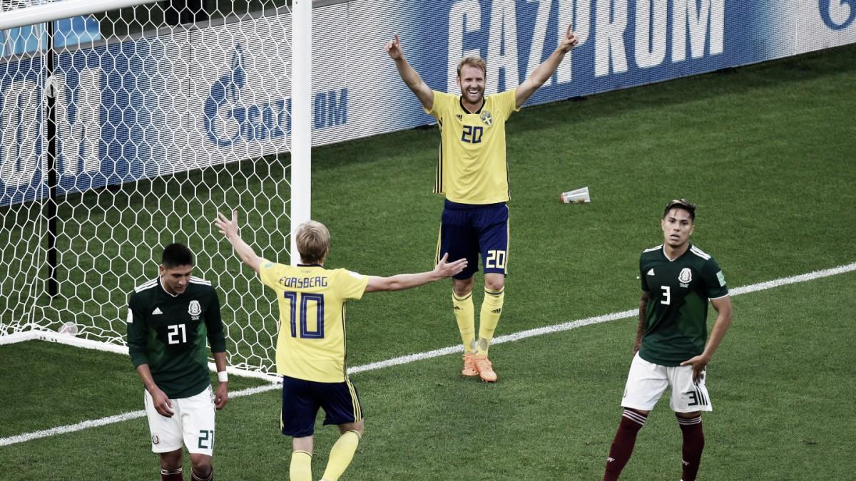 Suécia marca três gols na segunda etapa, vence México e garante vaga na oitavas