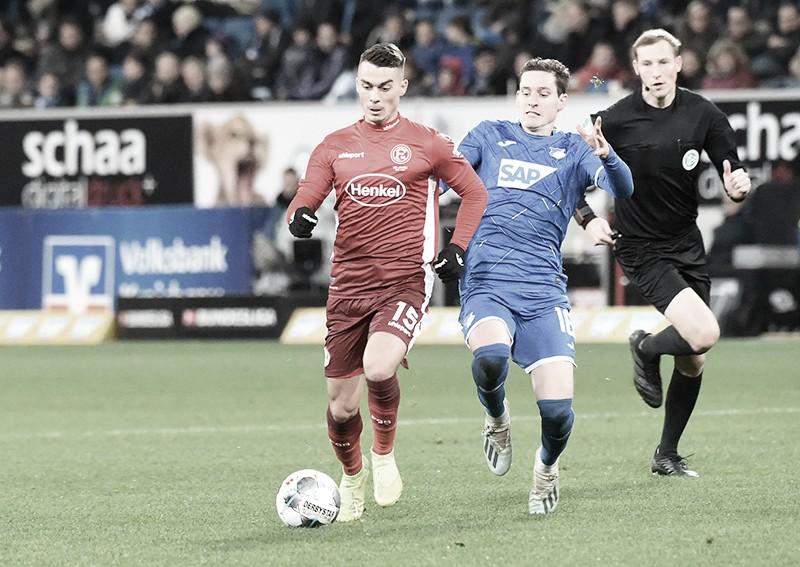 Ameaçado pelo rebaixamento,Fortuna Düsseldorf recebe embalado Hoffenheim