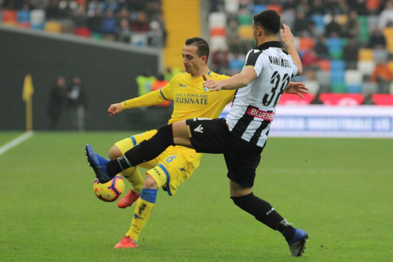 Serie A - Pareggio e fischi per l'Udinese, col Frosinone è 1-1