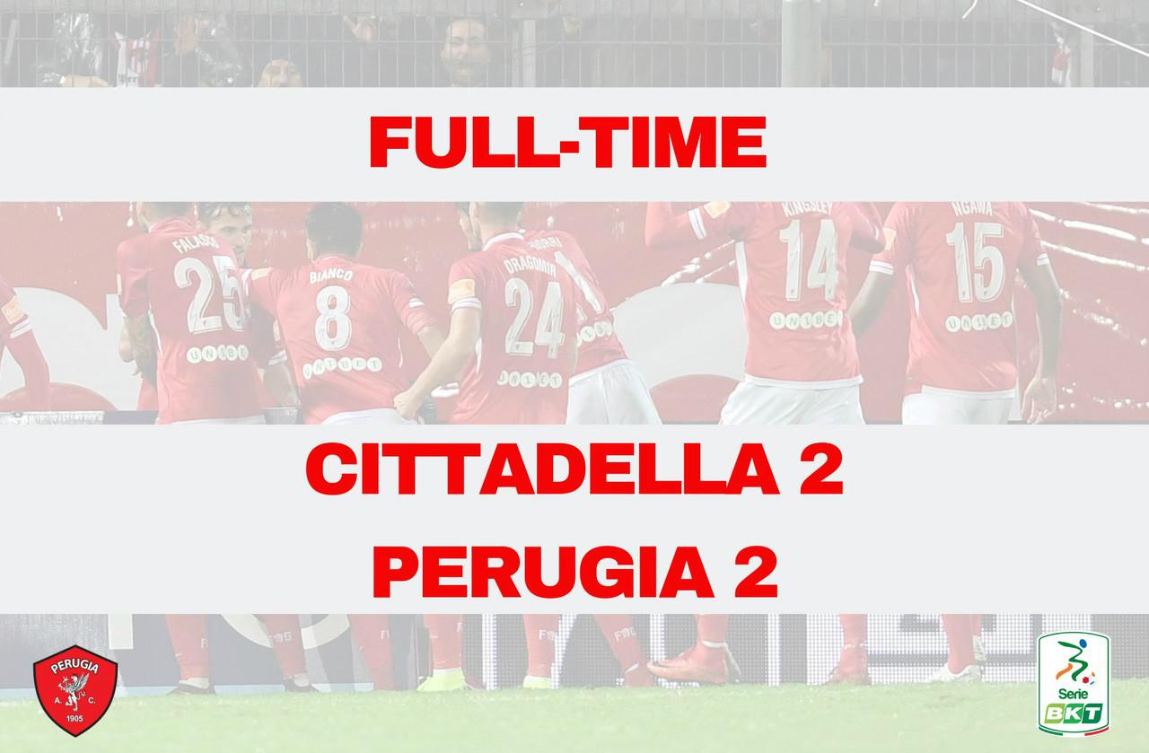 Serie B - Il Cittadella riprende due volte il Perugia: è 2-2 al Tombolato
