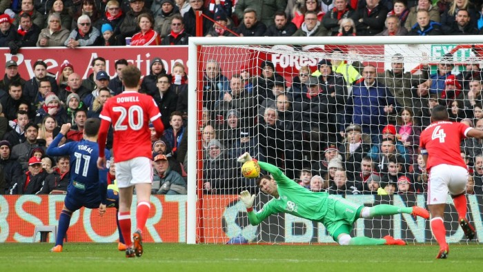 Pantilimon kept out Toral's penalty but not his header from the resulting corner (photo: Twitter / Nottingham Forest FC)