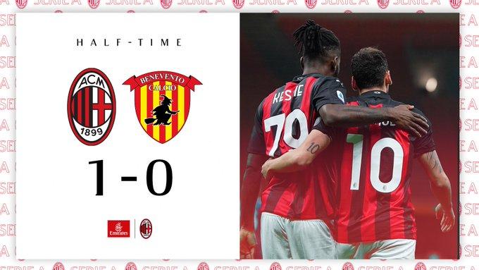 Il Milan torna alla vittoria: battuto il Benevento per 2-0