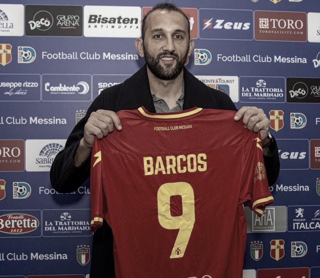 Hernán Barcos é apresentado no Messina, da quarta divisão italiana