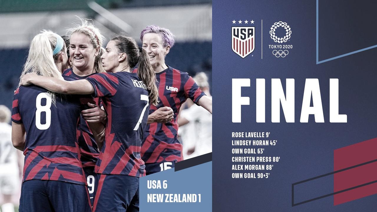 Nueva Zelanda 1-6 Estados Unidos: la actual campeona del mundo se reencuentra con la victoria