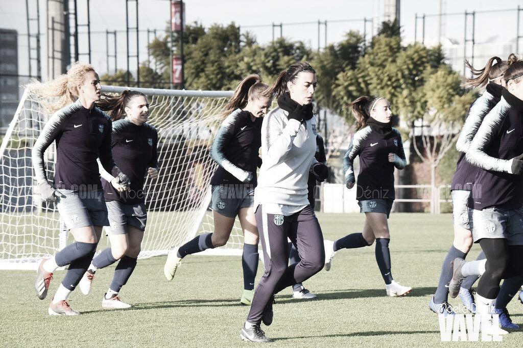 Último entrenamiento antes del derbi catalán