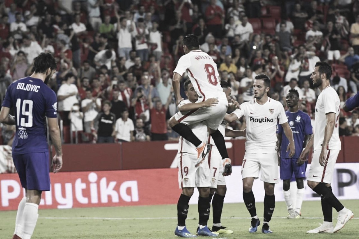 Sevilla atropela Újpest e abre grande vantagem pela fase classificatória da Europa League