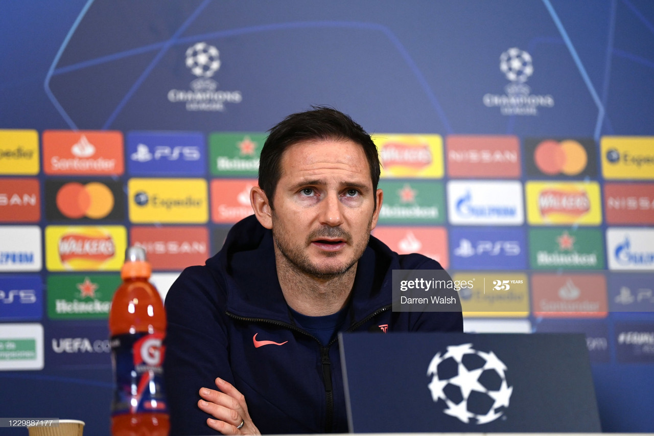 Frank Lampard of Chelsea during a press conference at Chelsea Training Ground on December 1, 2020 in Cobham, United Kingdom. (Photo by Darren Walsh/Chelsea FC via Getty Images)