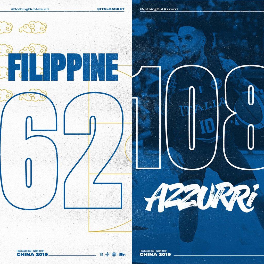 Basket Mondiali FIBA 2019- Italia parte bene e travolge 108-62 le Filippine
