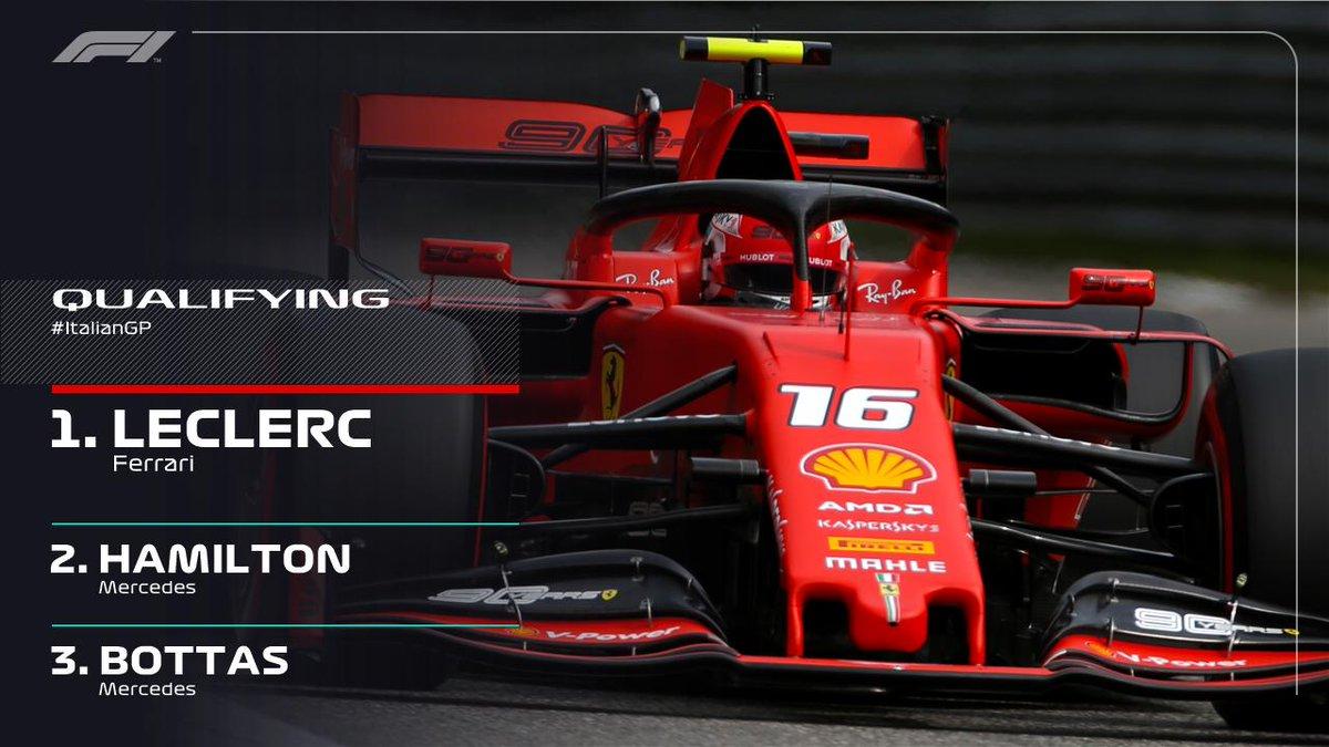 Formula1 Gp Italia Monza-La pole è Ferrari e seconda di LeClerc