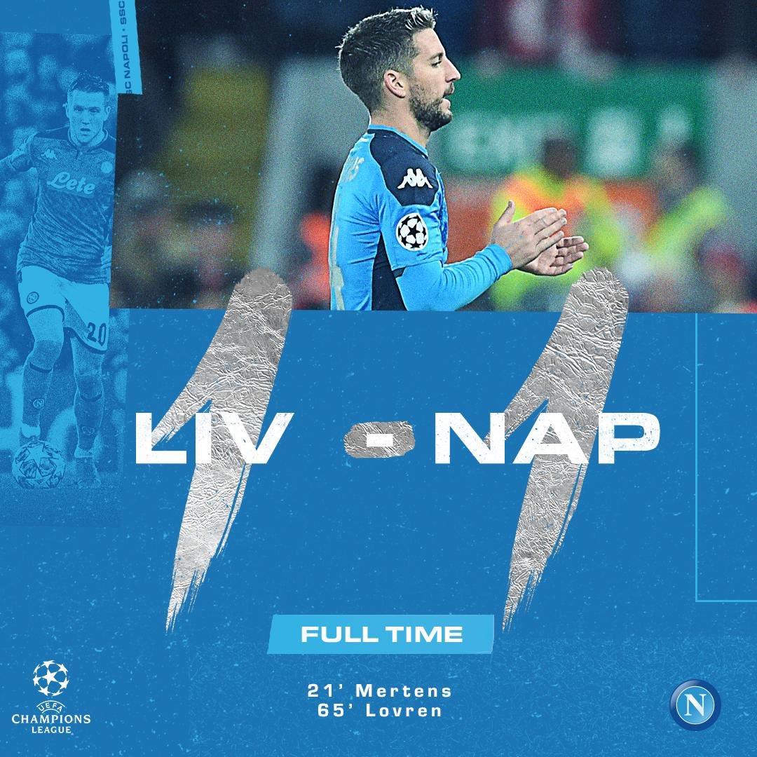 Il Liverpool mette sul pareggio il Napoli e qualificazione non ancora certa, ma vicina
