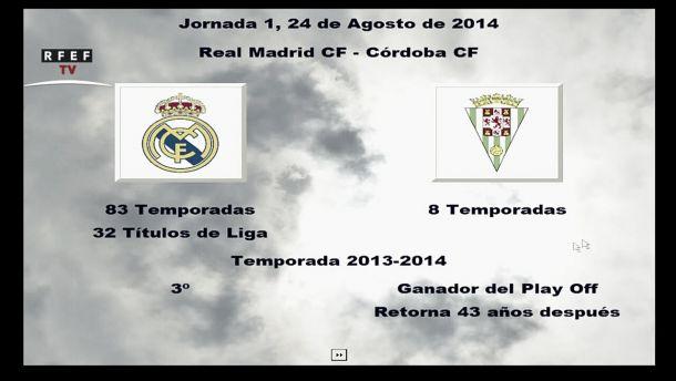 El Córdoba CF arranca la Liga BBVA frente al Real Madrid CF en la campaña 2014 / 2015
