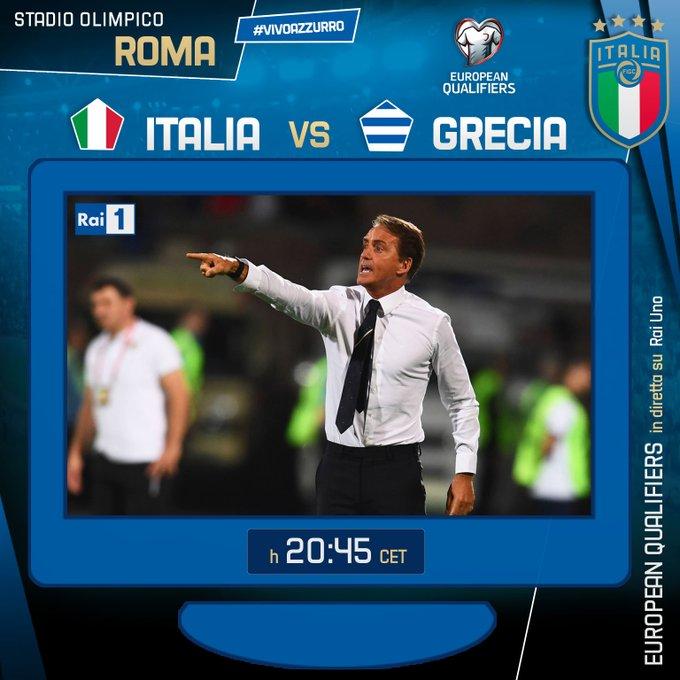 Verso Euro 2020 - L'Italia contro la Grecia per conquistarecon tre turni d'anticipo la qualificazione per i prossimiEuropei