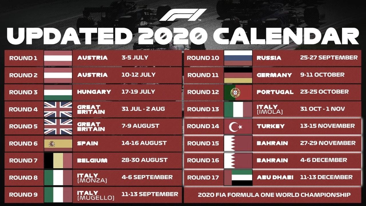 Turquía Y calendario completo en la F1