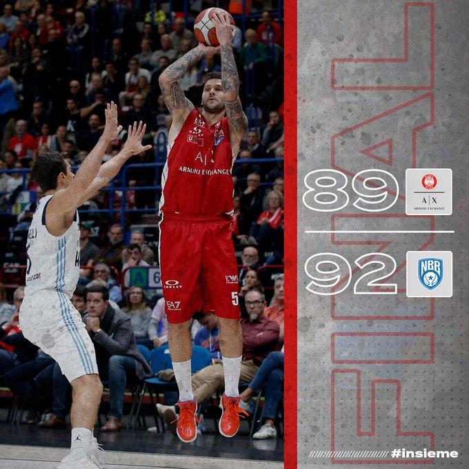 Legabasket - Milano cade ancora in casa: al Forum vince Brindisi per 89-92