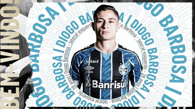 Grêmio oficializa contratação do lateral Diogo Barbosa até 2023