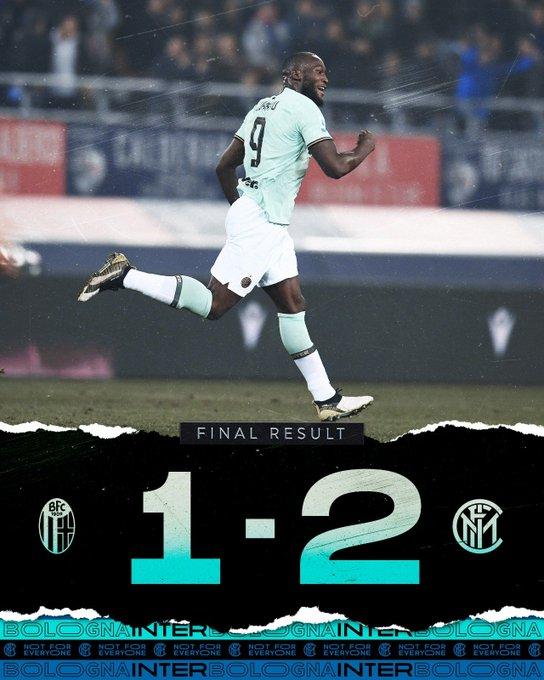 Serie A - L'Inter in rimonta batte il Bologna grazie alla doppietta di Lukaku (1-2)