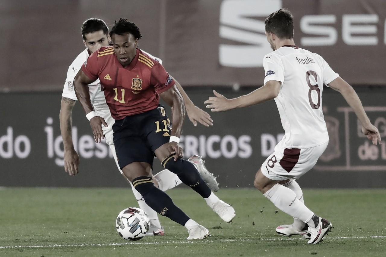 Adama Traoré durante el partido ante Suiza en Madrid | Fotografía: UEFA
