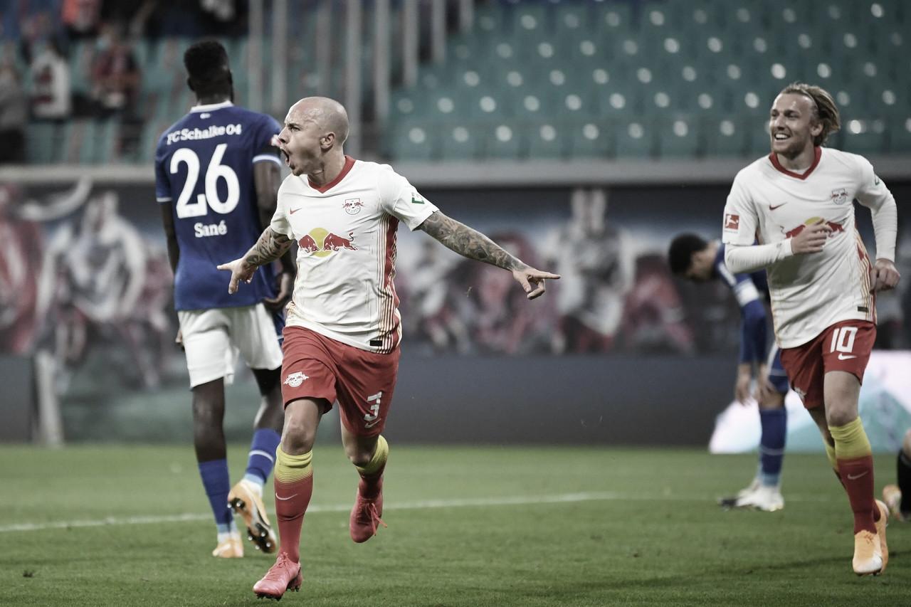 RB Leipzig goleia Schalke 04 e assume liderança provisória da Bundesliga