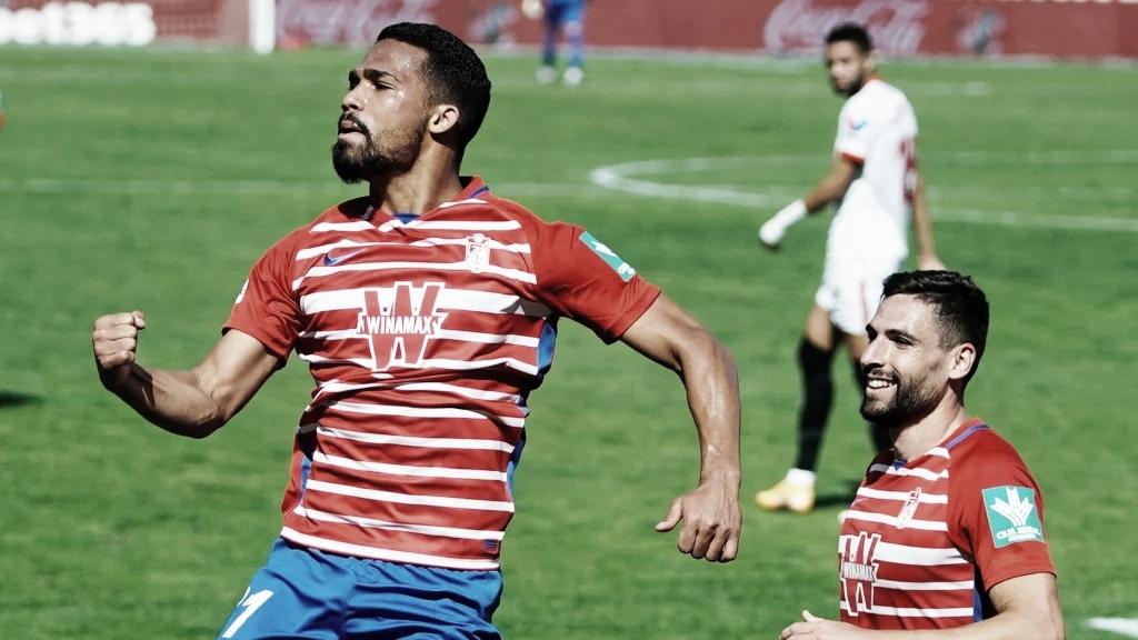 Yangel Herrera celebra su tanto en el tramo final del encuentro. Foto: La Liga.