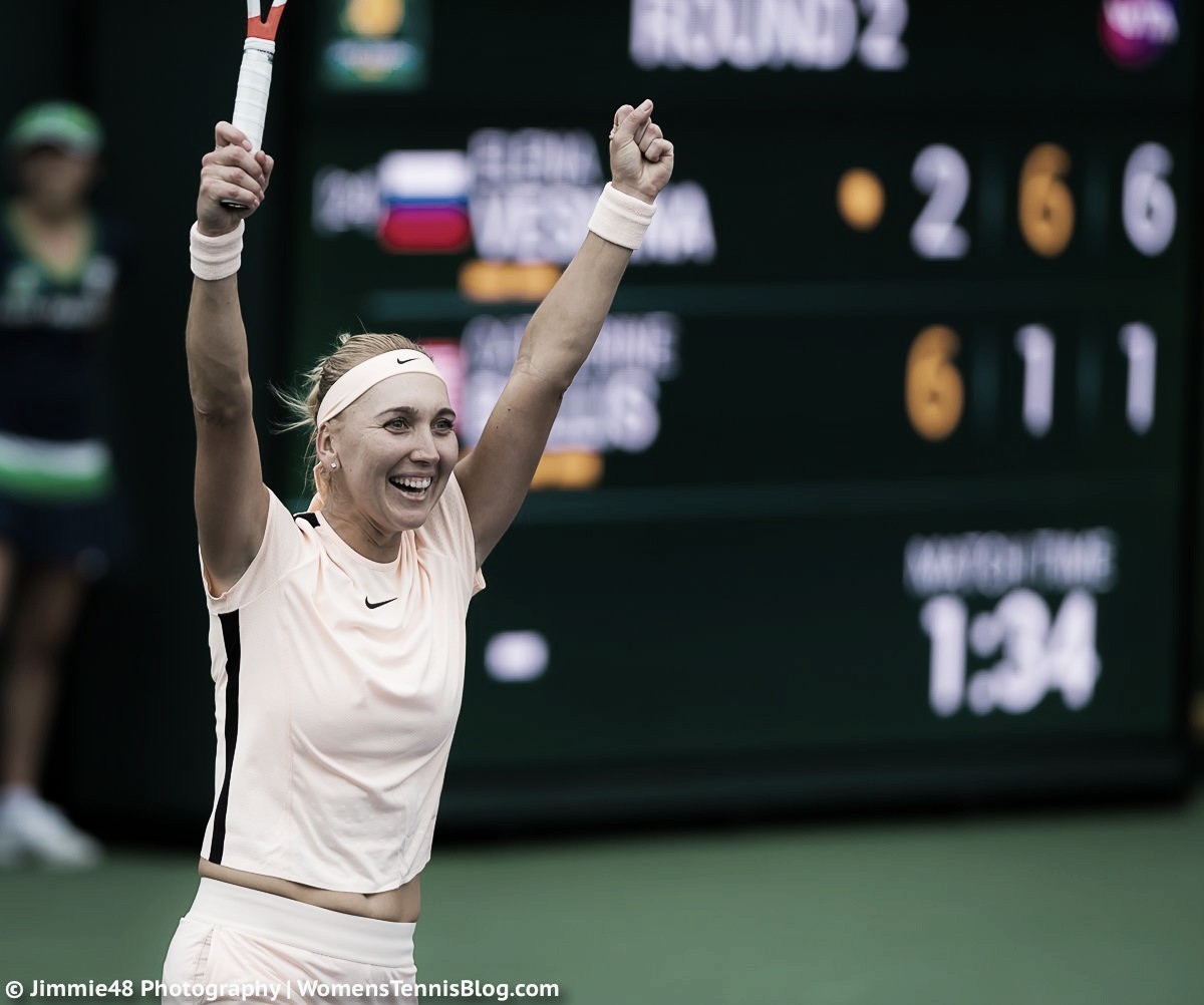 WTA Indian Wells: Defending champion Elena Vesnina kicks off campaign with impressive display against Catherine Bellis