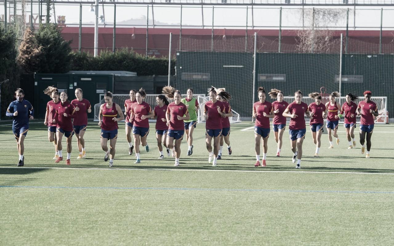 Las jugadoras azulgranas en el entreno de hoy | Foto: FCB
