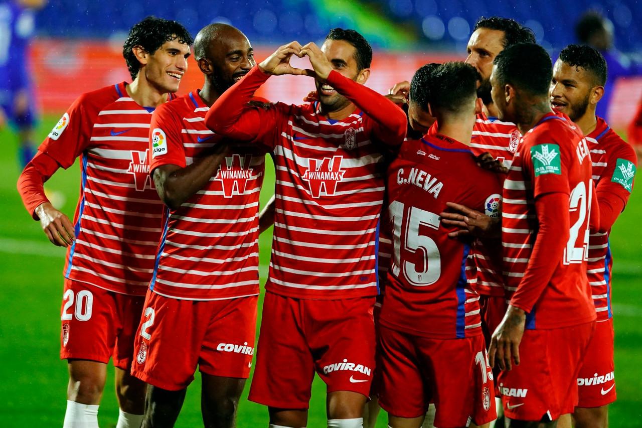 Montoro celebra el único tanto del encuentro. Foto: Granada CF