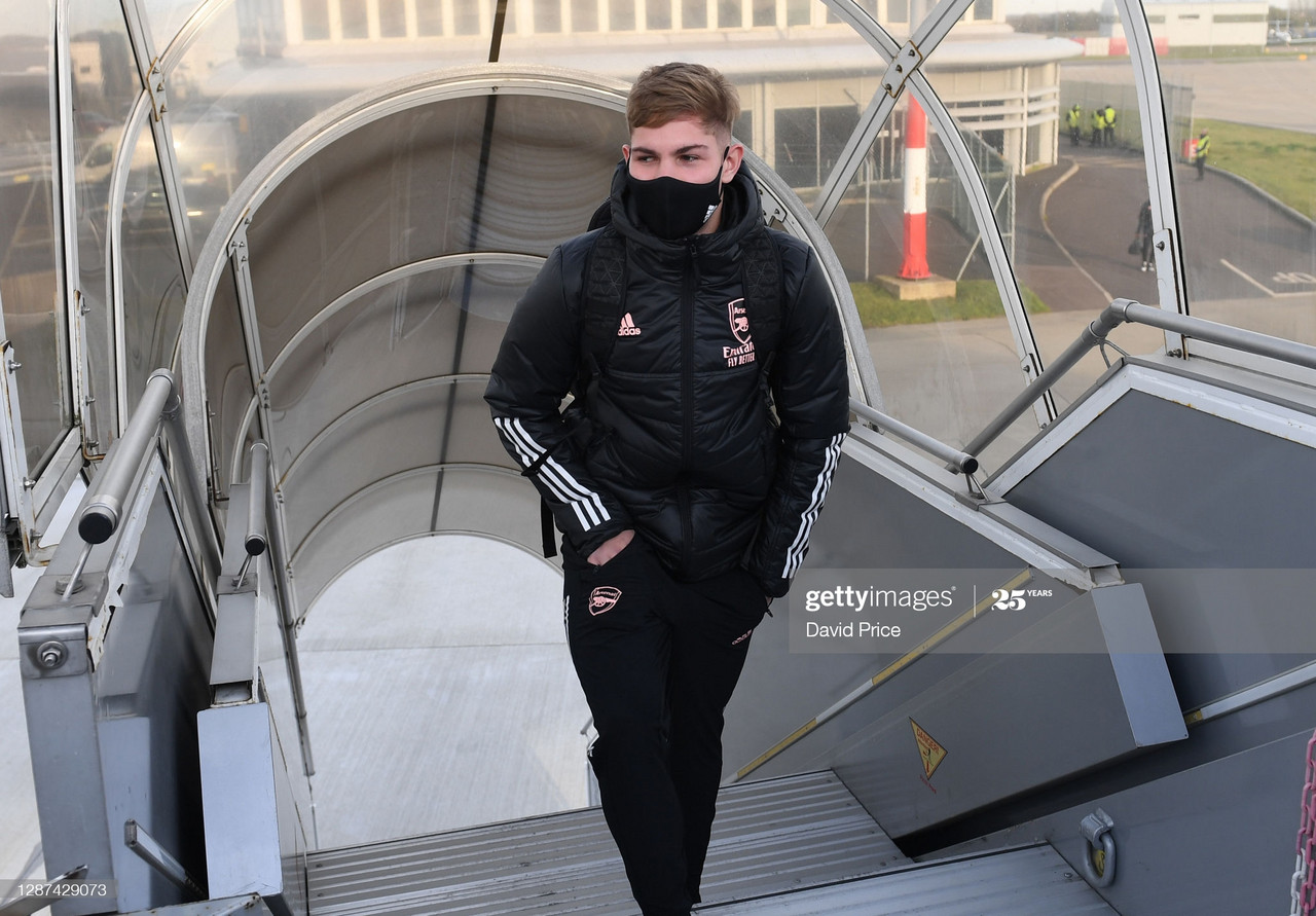 Arsenal travelled to Norway Tuesday with Emile Smith Rowe travelling with the squad (Photo by David Price via Getty Images)