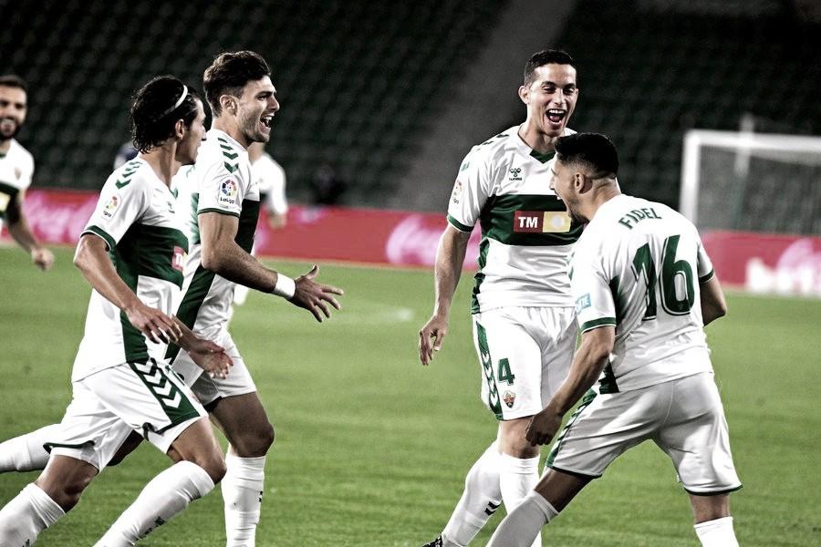 Celebración del gol de Fidel | Foto: Elche CF