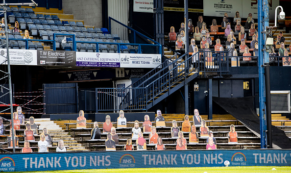 Luton's cardboard cut-outs will continue having the best seats in the house with fans still unable to return to live sport (Photo by Andrew Kearns/Getty Images)