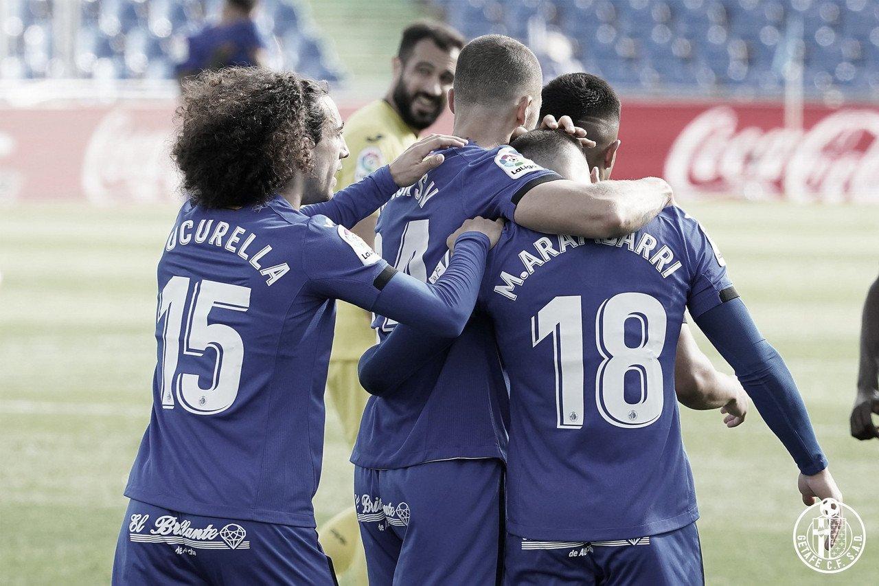 Los jugadores dl Getafe celebrando un gol ante el Villareal. Fuente: twitter @GetafeCF