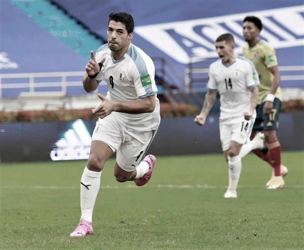 Luis Suárez anotando el segundo gol frente a la selección de Colombia. / Foto: Selección Uruguaya