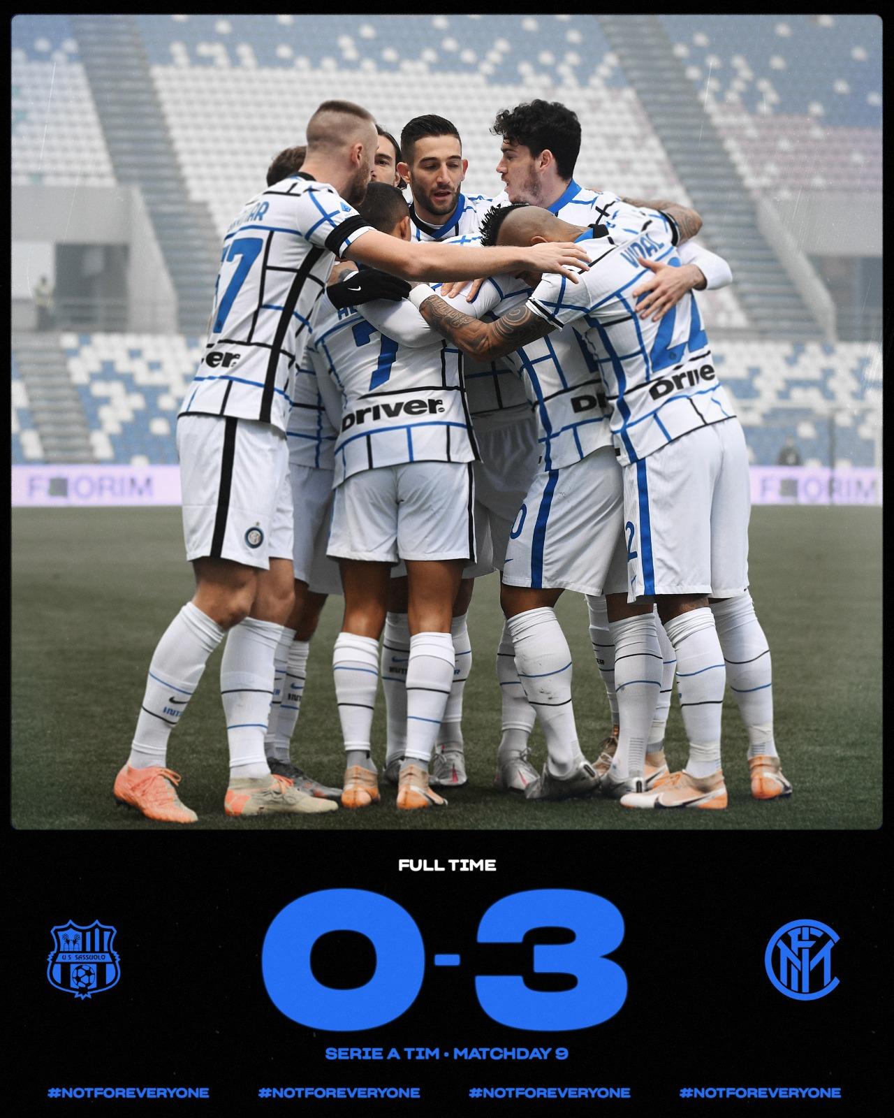 Serie A - Riecco l'Inter: battuto il Sassuolo per 3-0