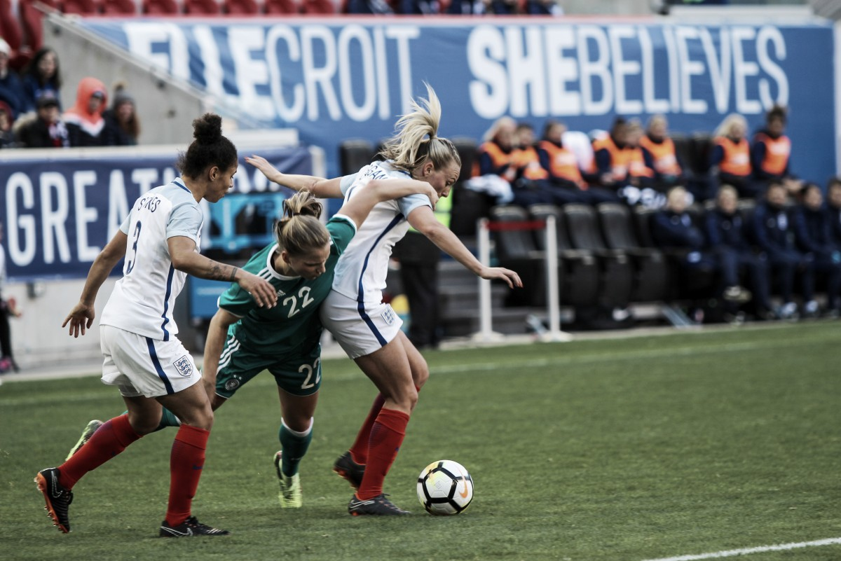 England comes back twice to draw Germany 2-2 in the 2018 SheBelieves Cup