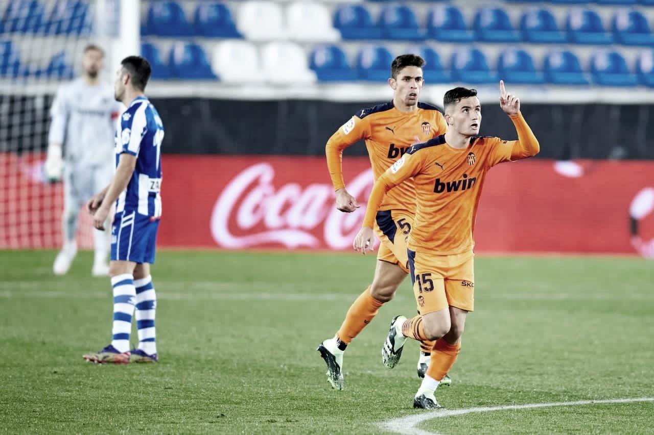 Hugo Guillamón celebrando el gol en Vitoria. Fuente: twitter de Hugo Guillamón (@HGuillamon)