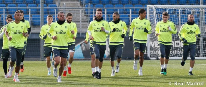 Primera sesión de la semana con Benzema y Ramos