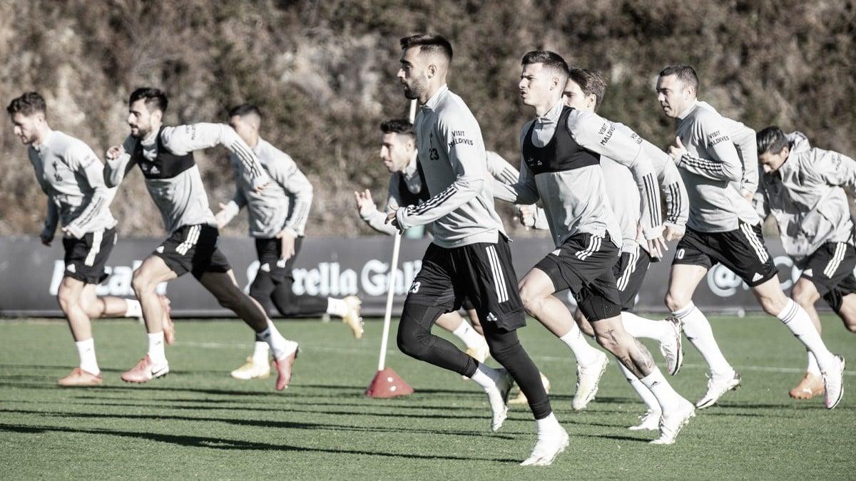 La plantilla del RC Celta en una sesión de entrenamiento previa al partido frente al Sevilla / Foto: @RCCelta