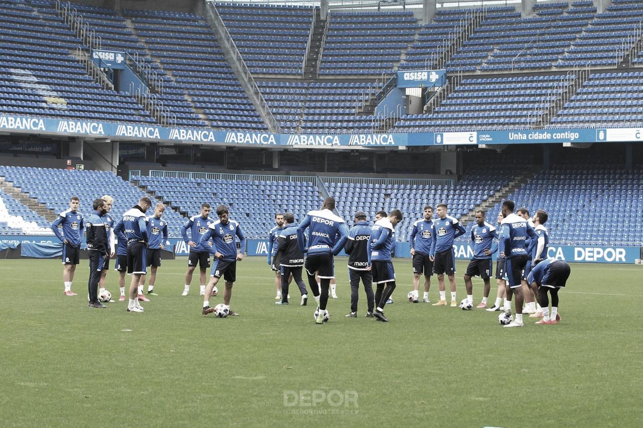 Imagen del entrenamiento de hoy en Riazor. Foto: rcdeportivo.es