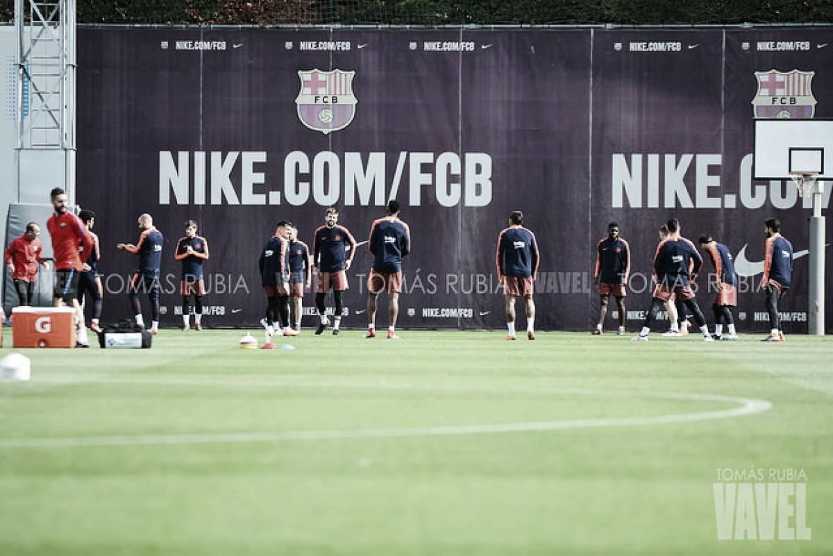 Sesión de recuperación en el FC Barcelona tras ganar al Valencia