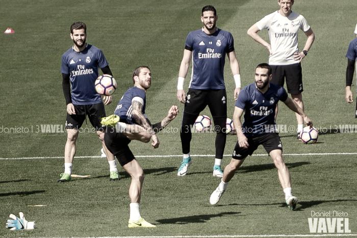 Entrenamiento madridista con vistas al Málaga y la Liga